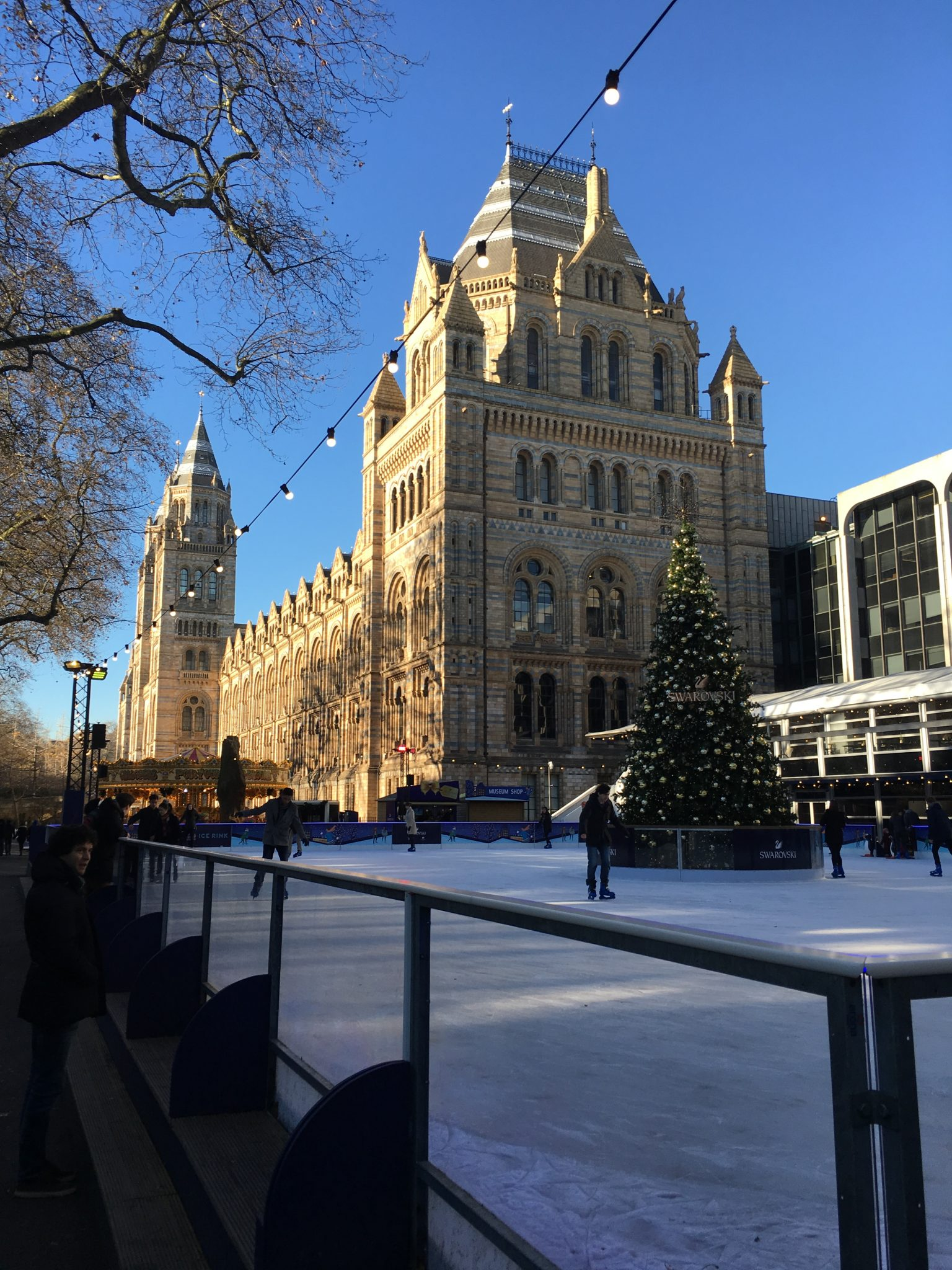 The ice rink in front of the Natural History Museum