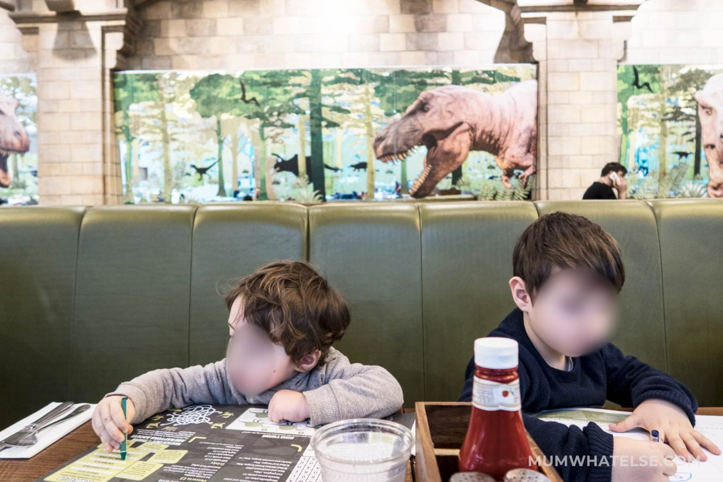 My children having lunch at the T-Rex Grill at the Natural History Museum