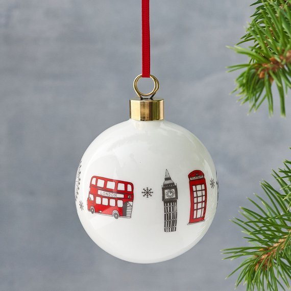 Christmas decoration for the tree with representations of London