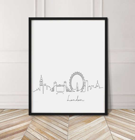 Framed poster with London illustration
