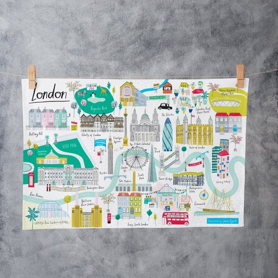 Tea towel with London illustrations