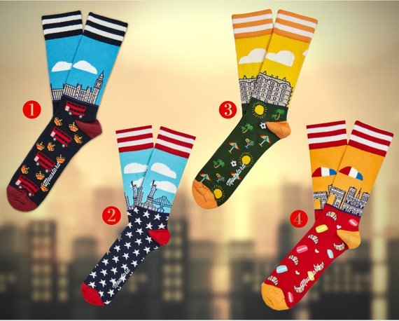 Socks with London illustrations
