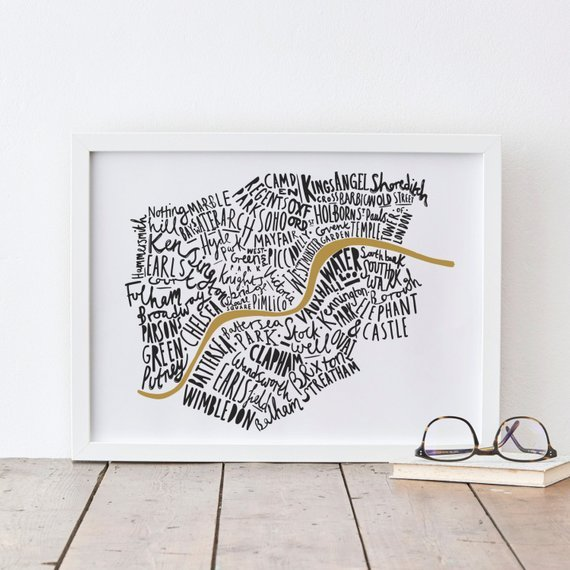 Print with map of London