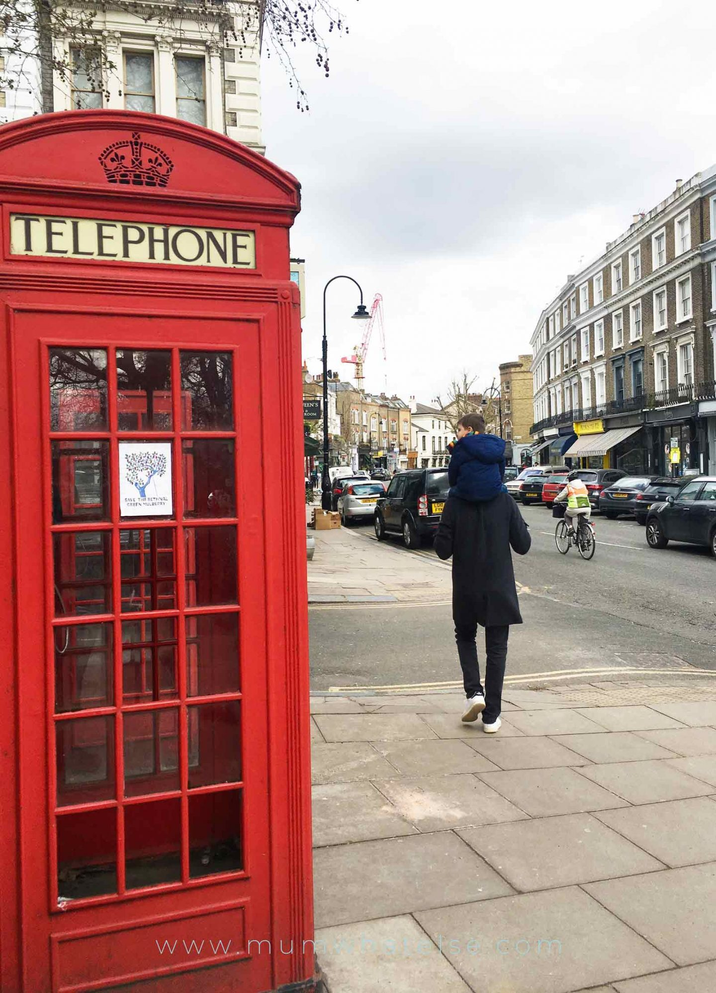 A street in Primrose Hill with the red phone booth