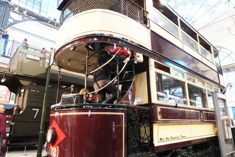 A double decker tram