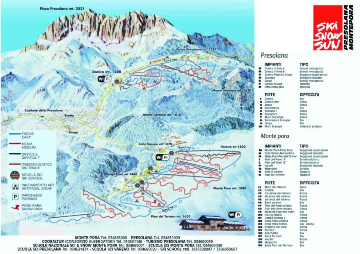 Map of piste Presolana season 2018/19