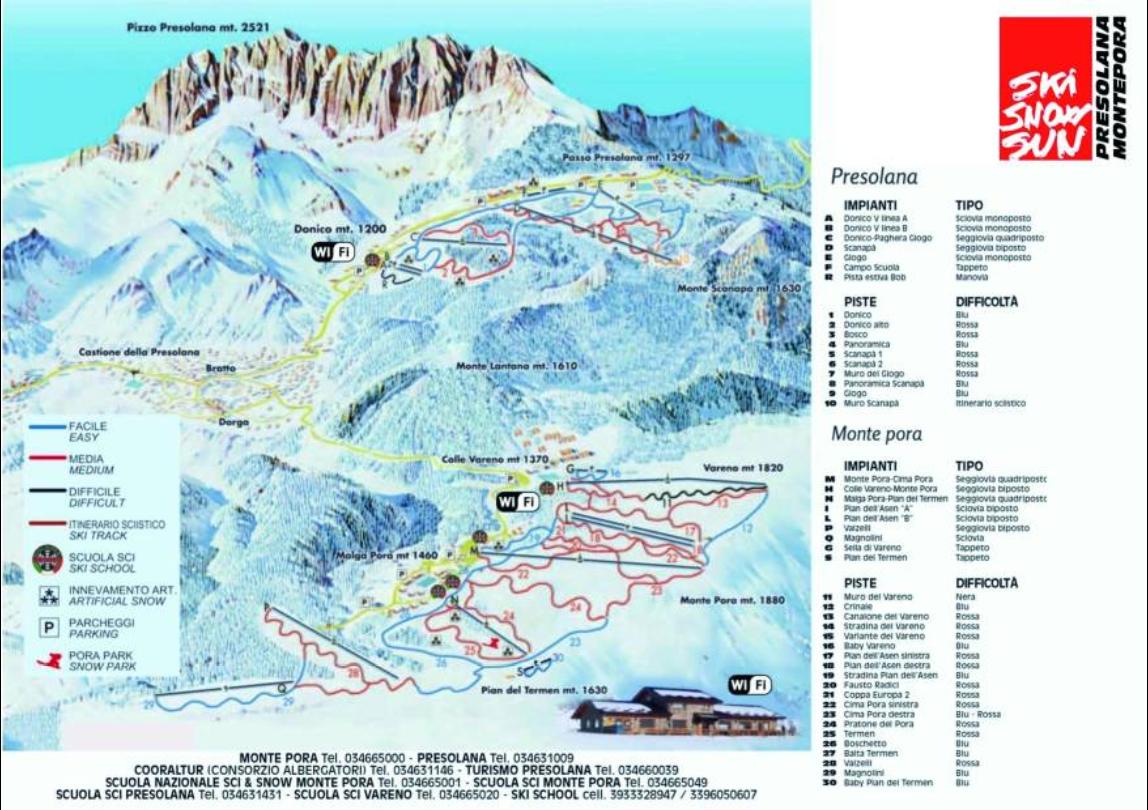 mappa piste presolana stagione 2018/19