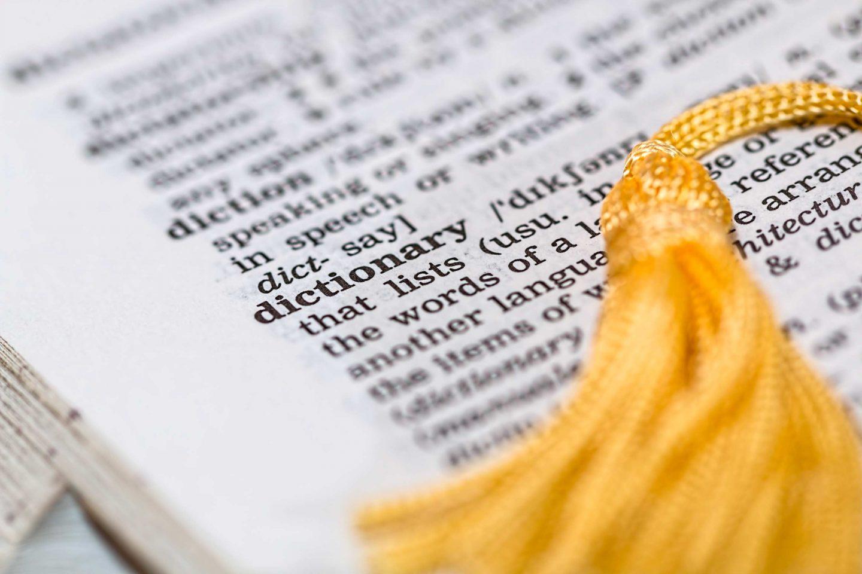 dizionario con parole in inglese