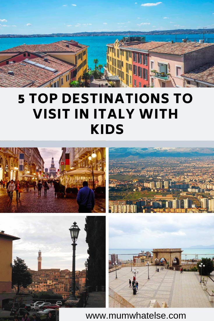 collage with the 5 top destinations to visit in Italy