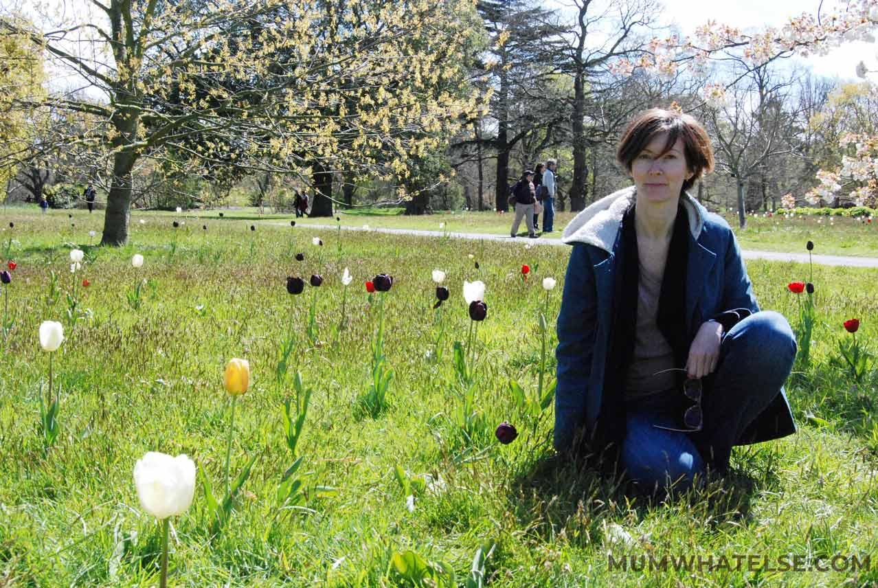 ragazza seduta nel prato attorniata da tulipani