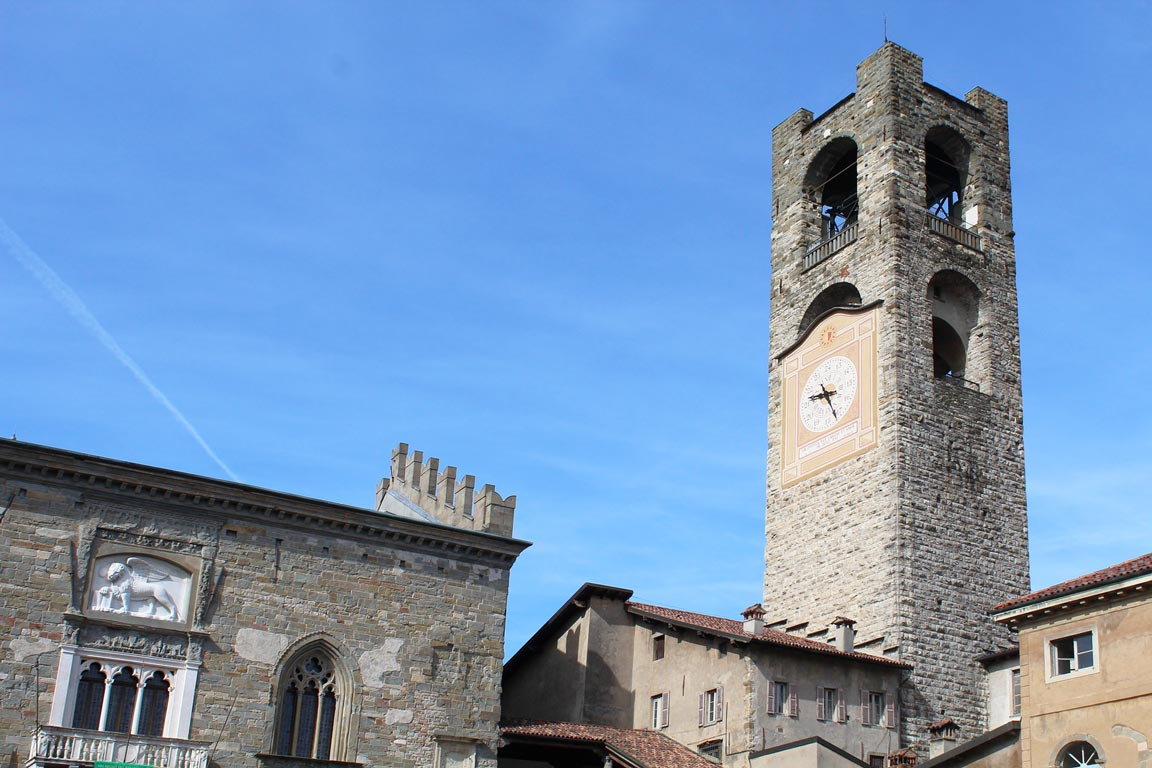 The Bell Tower of the Old Town in Bergamo Alta