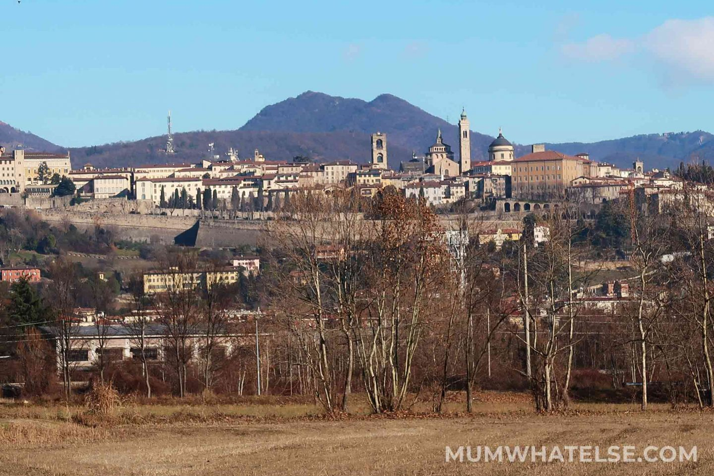 Bergamo upper town from a far point of view