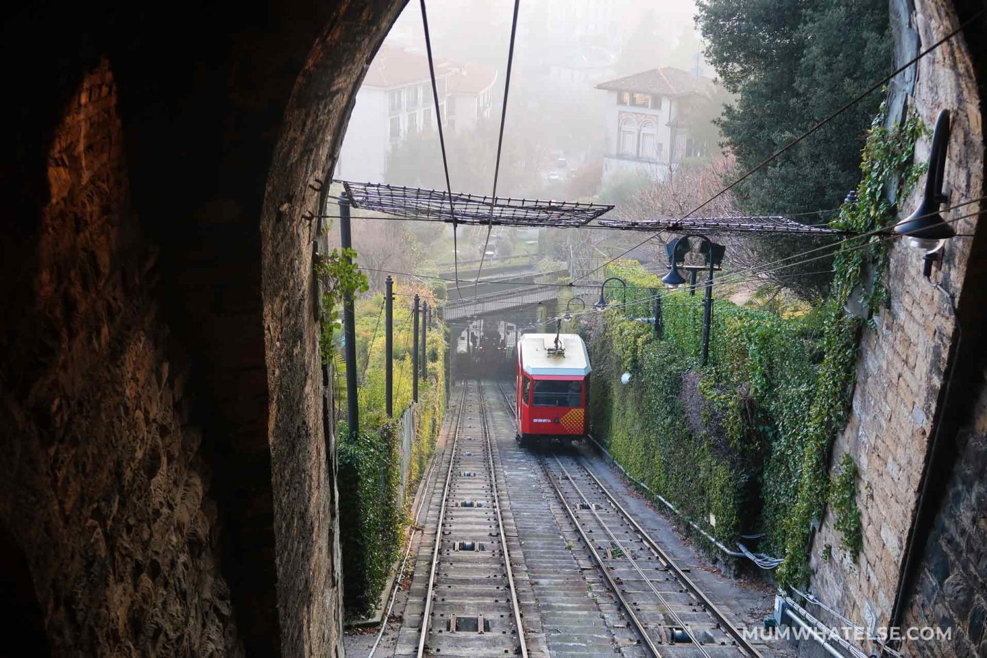 Red funicular that rises from the top