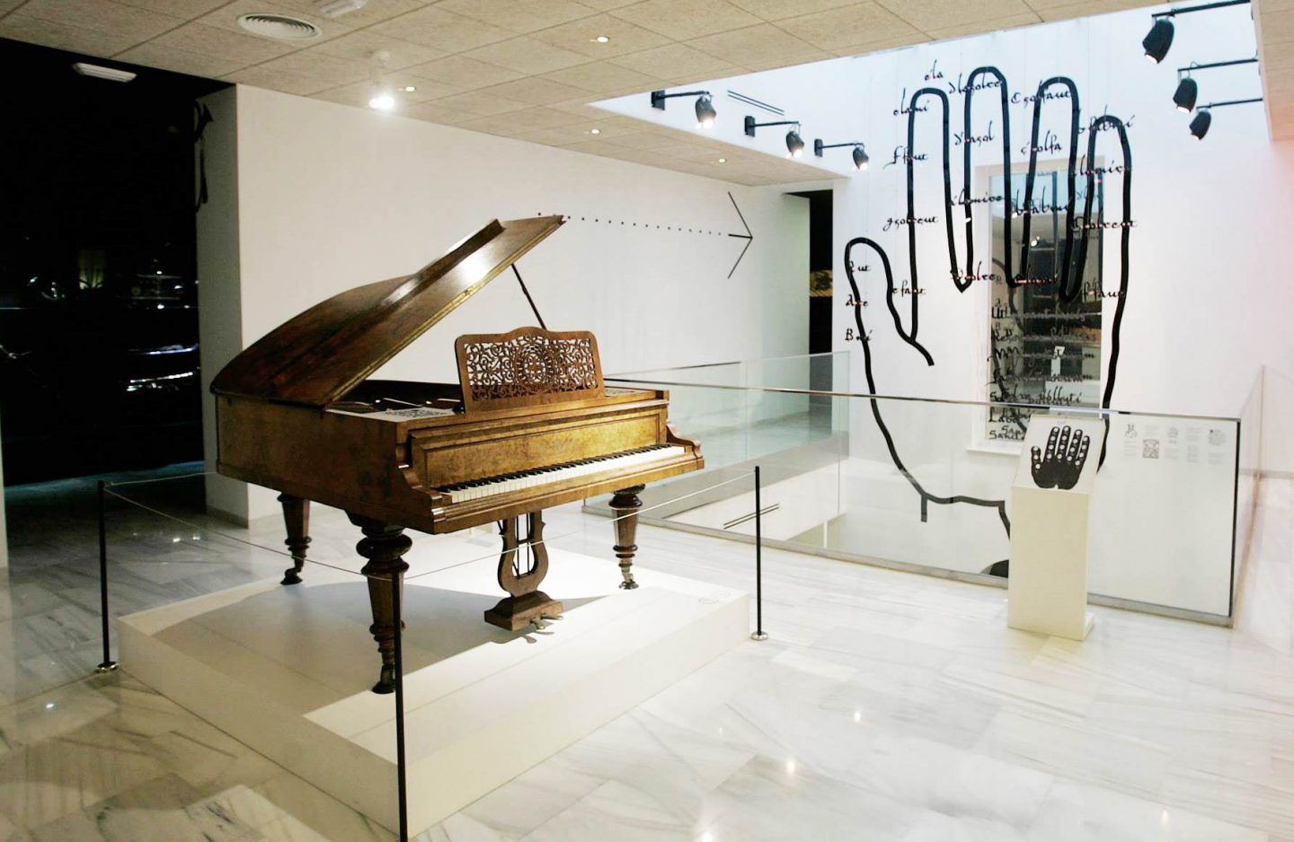a piano inside the museum