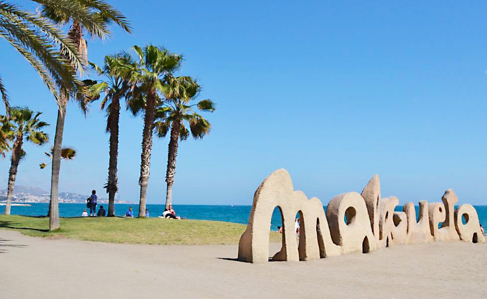 malagueta beach with the sculpture with the name