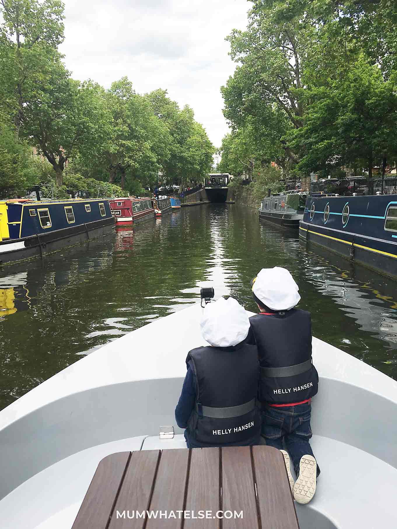 Kids watching London canal