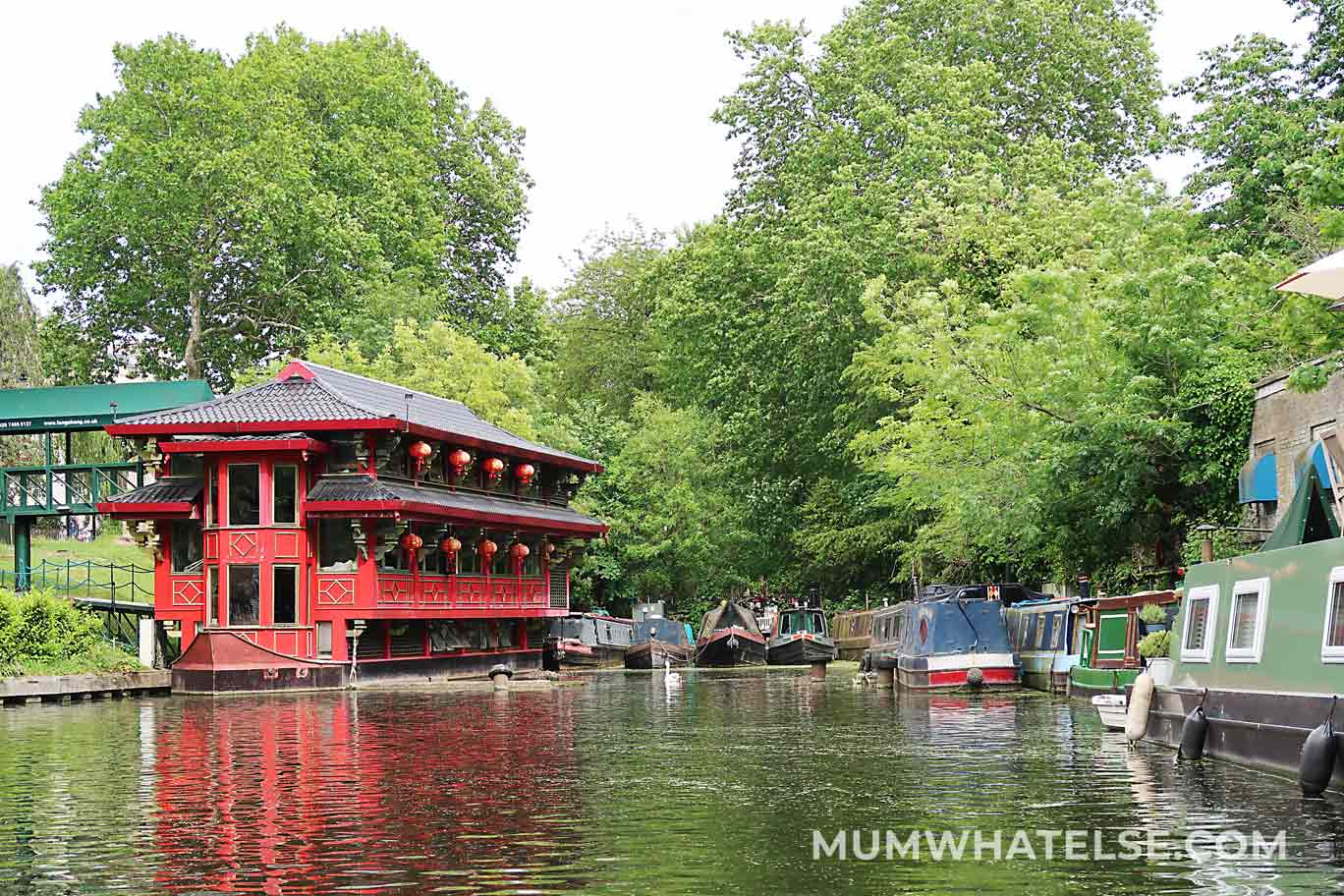 red restaurant on the London canals