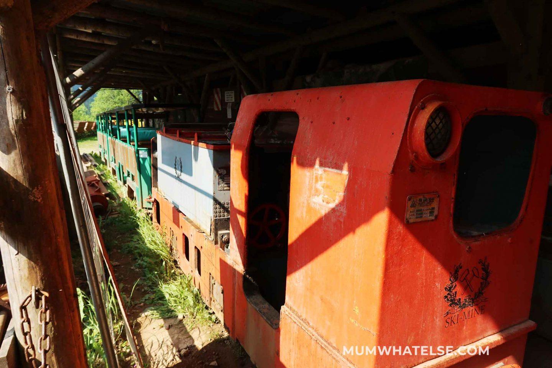 treno arancione con diverse carrozze e posti a sedere per entrare nelle miniere