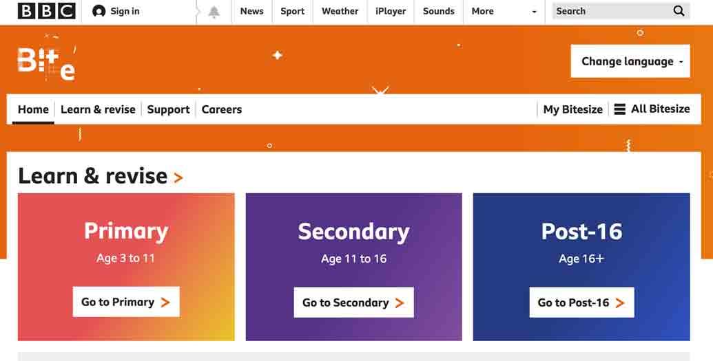 screenshot di un sito della BBC per imparare l'inglese