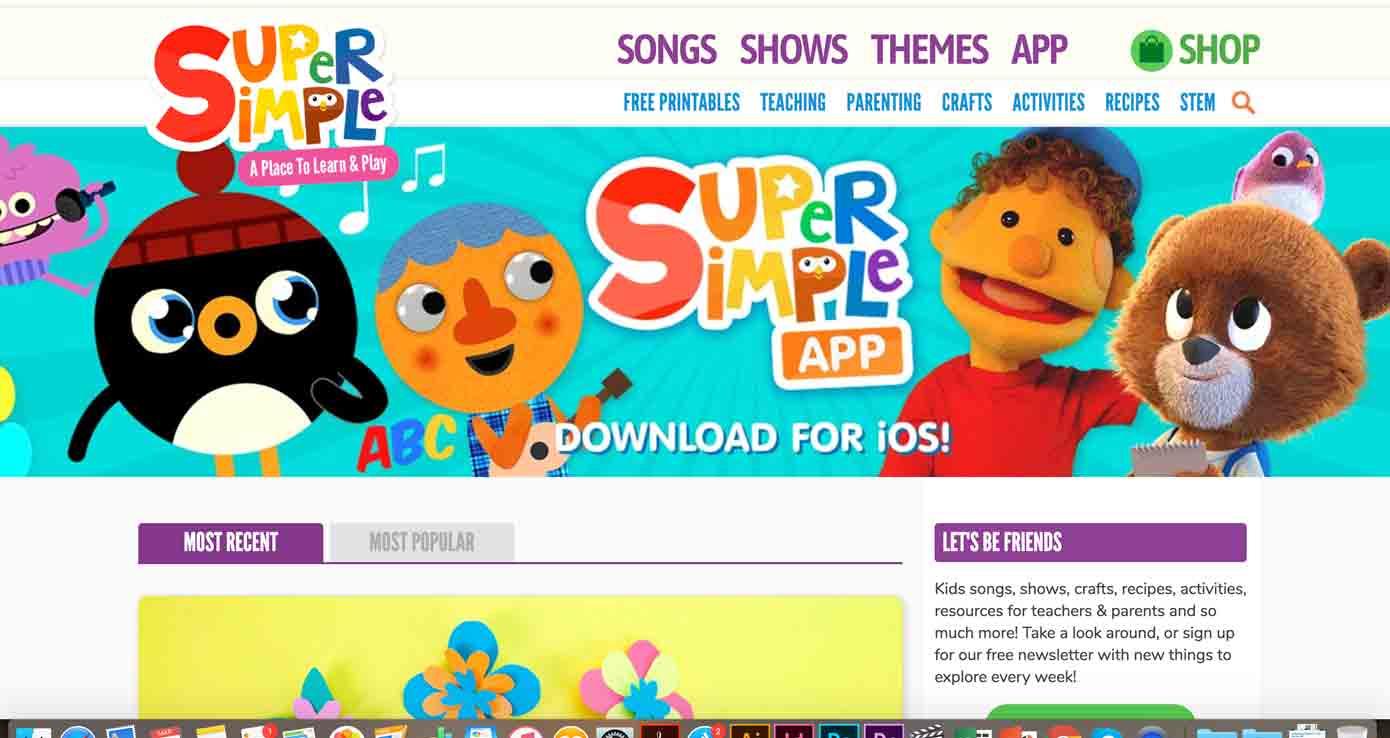 screenshot di un sito con attività per bambini