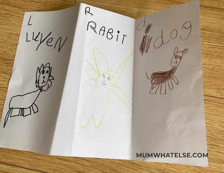 un foglio diviso in tre colonne con disegni di bambino